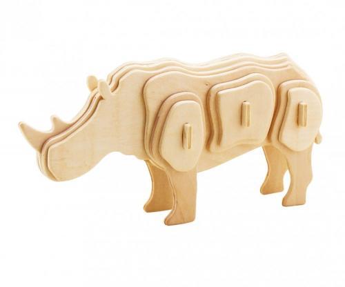 Puzzle din lemn 3D Safari Eicchorn - Rinocer - Jucarii Montessori -