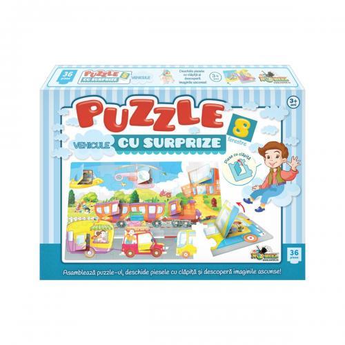 Puzzle Noriel - Vehicule cu Surprize - 36 piese - jocuri cu puzzle -