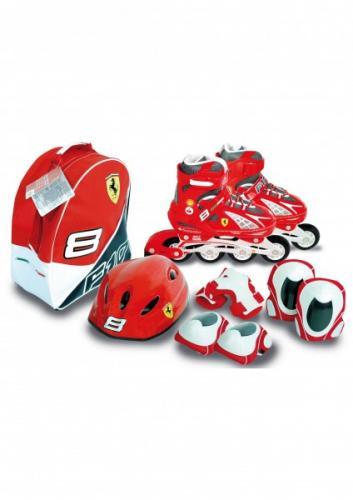 Role copii reglabile 39-42 Ferrari cu protectii si casca in ghiozdan - Role copii -