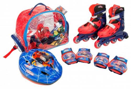 Role copii Saica reglabile 28-31 Spiderman cu protectii si casca in ghiozdan - Role copii -