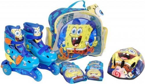 Role copii Saica reglabile 35-38 Sponge Bob cu protectii si casca in ghiozdan - Role copii -