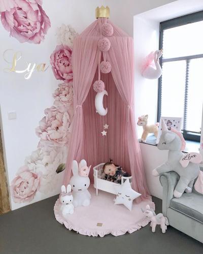 Saltea de joaca din spuma MeowBaby pentru copii rotunda cu volanas catifea roz deschis - Camera copilului - Centru de activitati