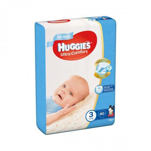 Scutece Huggies Mega Comfort Boys - Nr 3 - 5 - 9 Kg - 80 buc - Ingrijirea bebelusului - Scutece bebelusi