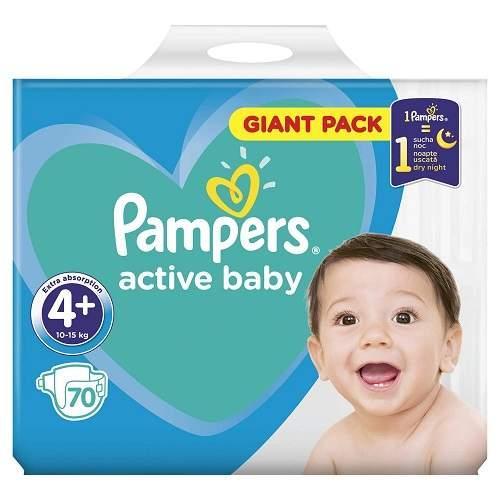 Scutece Pampers Active Baby - Giant Pack - Nr 4+ - 10-15 kg - 70 buc - Ingrijirea bebelusului - Scutece bebelusi
