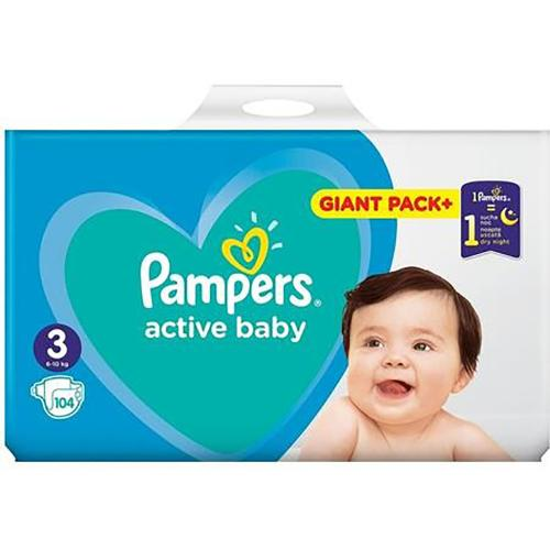 Scutece Pampers Active Baby - Nr 3 - 6 - 10 kg - 104 buc - Ingrijirea bebelusului - Scutece bebelusi