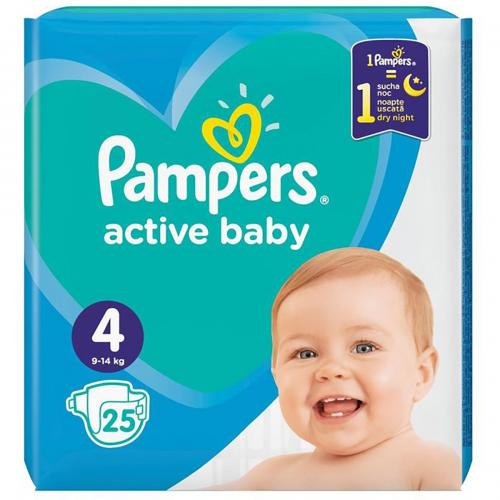 Scutece Pampers Active Baby - Nr 4 - 9 - 14 Kg - 25 buc - Ingrijirea bebelusului - Scutece bebelusi