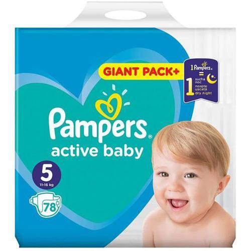 Scutece Pampers Active Baby - Nr 5 - 11 - 16 kg - 78 buc - Ingrijirea bebelusului - Scutece bebelusi