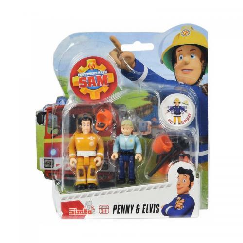 Set 2 figurine articulate Pompierul Sam - Ellie si Penny - 75 cm - Figurine pentru copii -