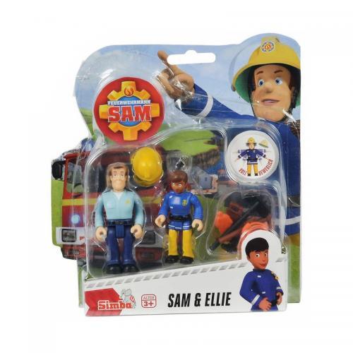 Set 2 figurine articulate Pompierul Sam - Ellie si Sam - 75 cm - Figurine pentru copii -