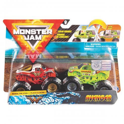Set 2 masini Monster Jam - Scara 1:64 - Wonder Woman si Avenger - Masinute copii -