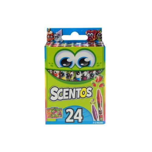 Set 24 creioane cerate parfumate Scentos - multicolor - Rechizite scolare -