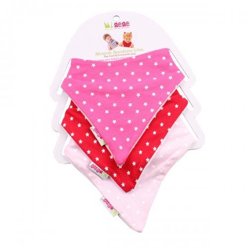 Set 3 bavetele triunghiulare cu stelute pentru bebelusi Minene - Roz - Alimentatia bebelusului - Bavete bebe