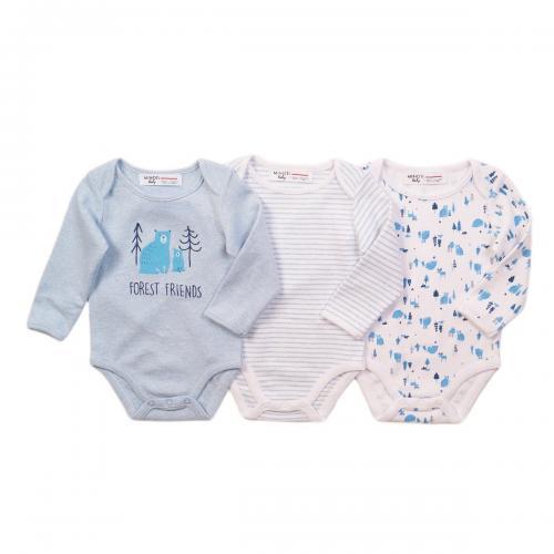 Set 3 body cu maneca lunga Minoti Bear - Imbracaminte copii - Body bebe