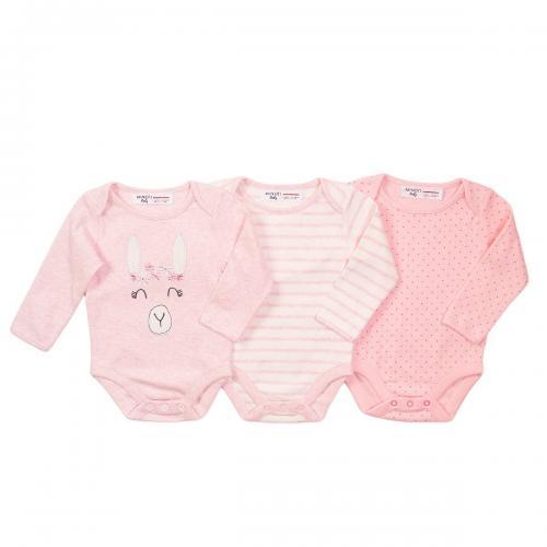 Set 3 body cu maneca lunga Minoti Llama - Imbracaminte copii - Body bebe