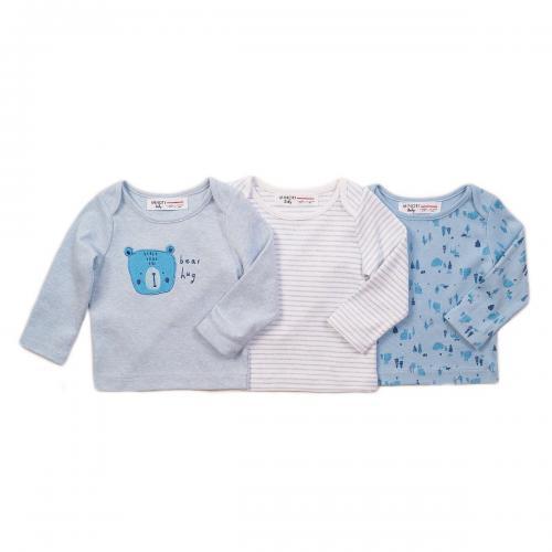 Set 3 tricouri cu maneca lunga Minoti Bear - Imbracaminte copii - Tricouri