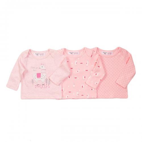 Set 3 tricouri cu maneca lunga Minoti Llama - Imbracaminte copii - Tricouri