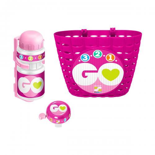 Set accesorii pentru bicicleta Stamp - Roz - Ingrijirea bebelusului - Protectii si accesorii
