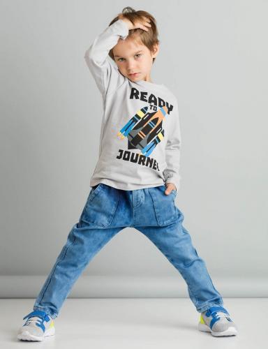 Set bluza cu maneca lunga si pantaloni jeans Mushi Ready To Journey - Imbracaminte copii - Bluze corp