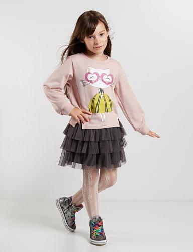 Set bluza si fusta cu volane Ballerina Cat - Imbracaminte copii - Bluze corp