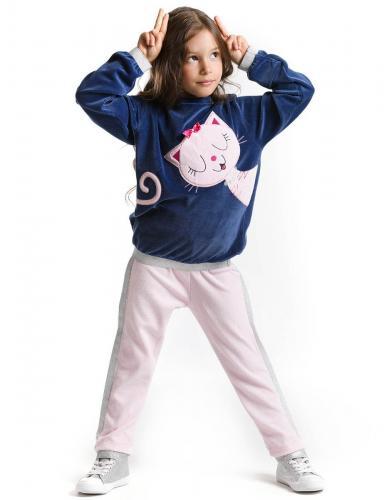 Set bluza si pantaloni sport Pink Cat Denokids - Imbracaminte copii - Bluze corp
