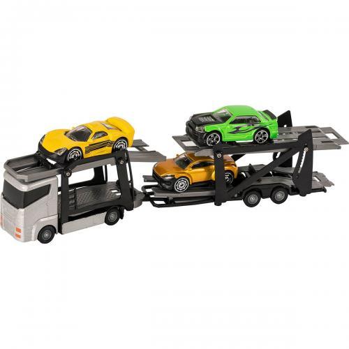 Set Camion transportator cu masinute Teamsterz - Gri - Masinute copii -