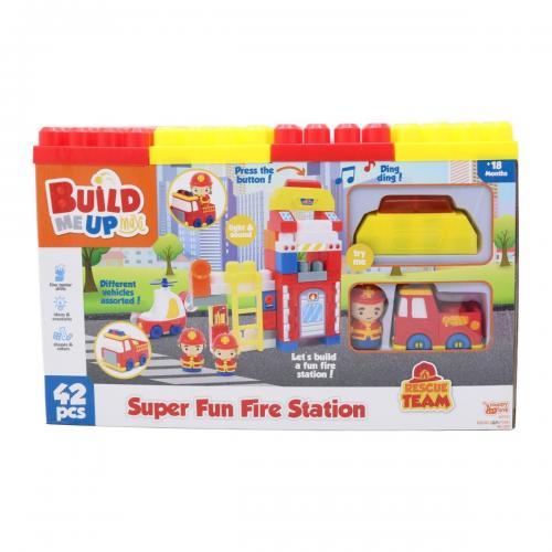Set de construit Statie de pompieri Happy Line - 42 Piese - Jucarii de constructie -
