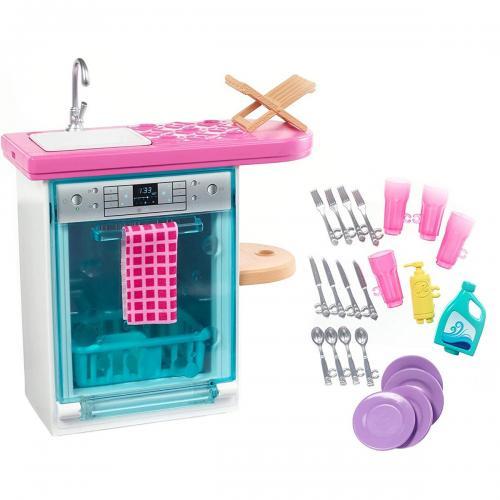 Set de joaca Barbie - Masina de spalat vase si accesorii - FXG35 - Papusi fetite -