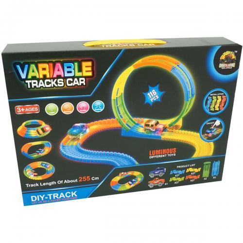 Set de joaca Circuit cu masinuta Unika Toy - 116 piese - Masinute copii -