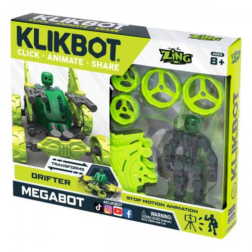 Set Figurina Robot articulat transformabil KlikBot Megabots Drifter - Green - Figurine pentru copii -