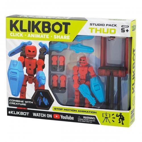 Set Figurina Robot articulat transformabil KlikBot Studio Pack - Red - Figurine pentru copii -