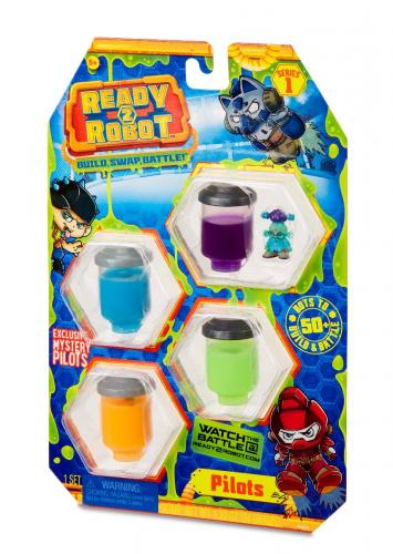 Set figurina si slime Ready2Robot - Pilot Style 3 - Seria 1 (554028E5C) - Figurine pentru copii -