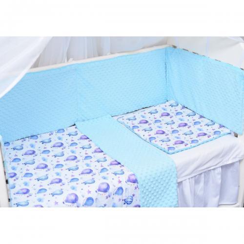 Set lenjerie Paturica Fermecata - 3 piese - Baloane - Bleu - Camera copilului -