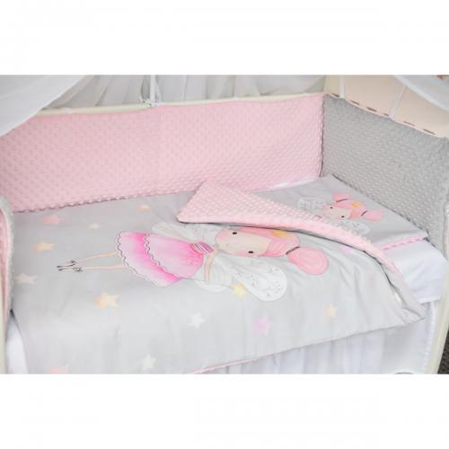 Set lenjerie Paturica Fermecata - 3 piese - Zana - Roz - Camera copilului -