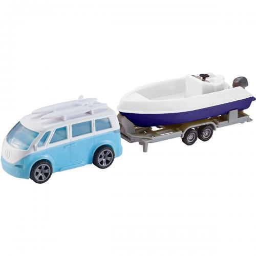 Set masinuta cu remorca si barca Teamsterz - Albastru - Masinute copii -