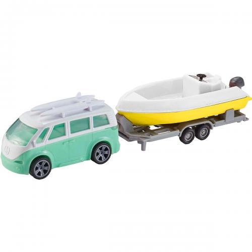 Set masinuta cu remorca si barca Teamsterz - Verde - Masinute copii -