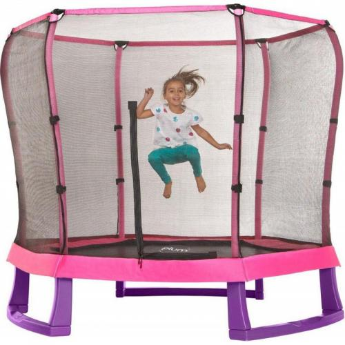 Set trambulina copii cu plasa de protectie Junior Pink Purple 7FT Plum - Jucarii de exterior - Trambuline copii