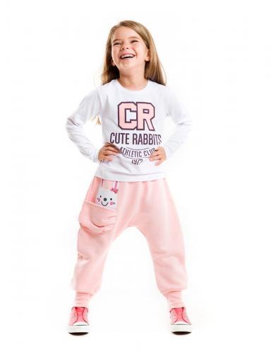 Set tricou cu maneca lunga si pantaloni sport Cute Rabbits Mushi - Imbracaminte copii - Tricouri