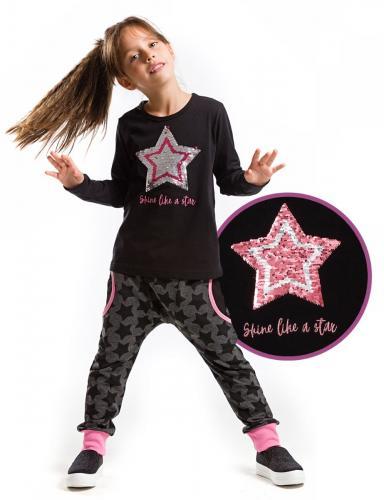 Set tricou cu maneca lunga si pantaloni sport Interactive Star Mushi - Imbracaminte copii - Tricouri