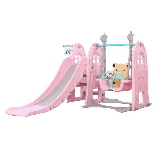 Spatiu de joaca 3 in 1 cu leagan si tobogan Nichiduta Castle Pink - Jucarii de exterior - Spatiu de joaca