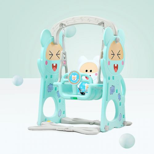 Spatiu de joaca 3 in 1 cu leagan si tobogan Nichiduta Happy Baby Blue