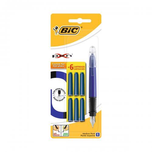 Stilou cu 6 rezerve Standard XPen Bic - Albastru - Rechizite scolare -