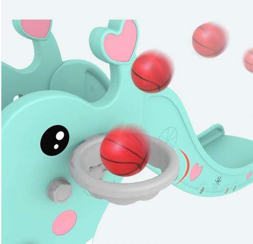 Tobogan 2in1 cu inaltime reglabila si cos de baschet Nichiduta Garden Elephant Blue - Leagane si tobogane -