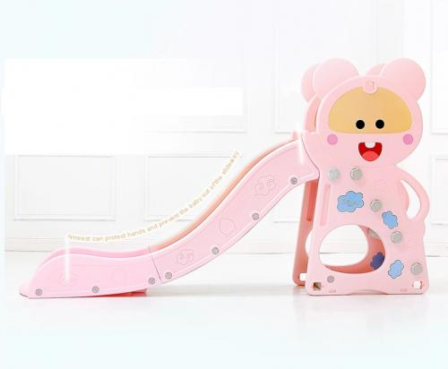 Tobogan Nichiduta Pink Happy Baby 2in1 cu cos de baschet - Leagane si tobogane -