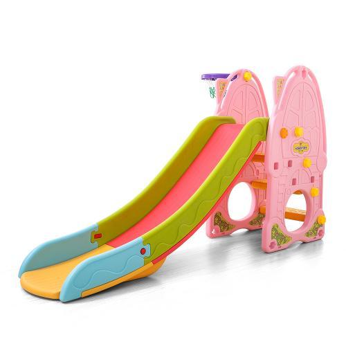 Tobogan Nichiduta Pink Play and Slide 2in1 cu cos de baschet - Leagane si tobogane -