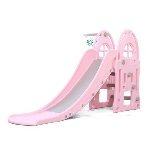 Tobogan pentru copii cu cos de baschet Nichiduta Garden Happy Kid Pink - Leagane si tobogane -