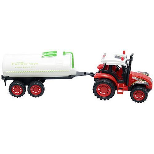 Tractor cu cisterna Unika Toy - Rosu - Masinute copii -