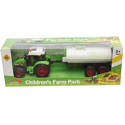 Tractor cu cisterna Unika Toy - Verde - Masinute copii -