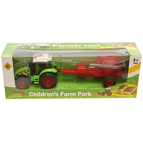 Tractor cu combina Unika Toy - Rosu - Masinute copii -