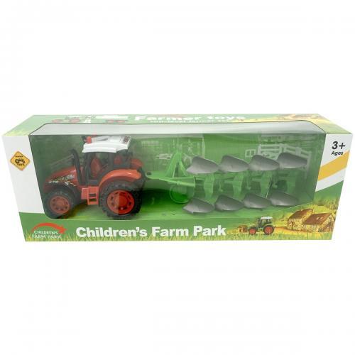 Tractor cu plug Unika Toy - Rosu - Masinute copii -