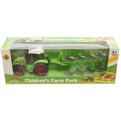 Tractor cu plug Unika Toy - Verde - Masinute copii -
